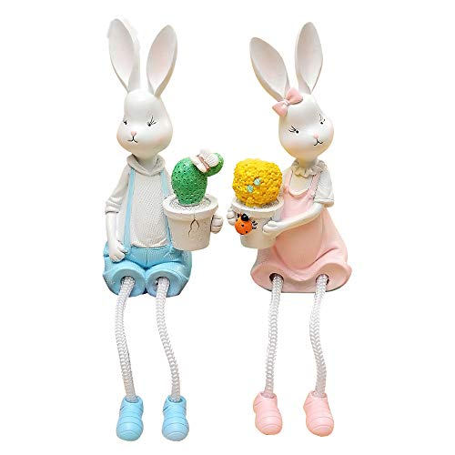 baidercor Resin Rabbits Statue Shelf Sitter Figures Holding Potted Plants 2 -