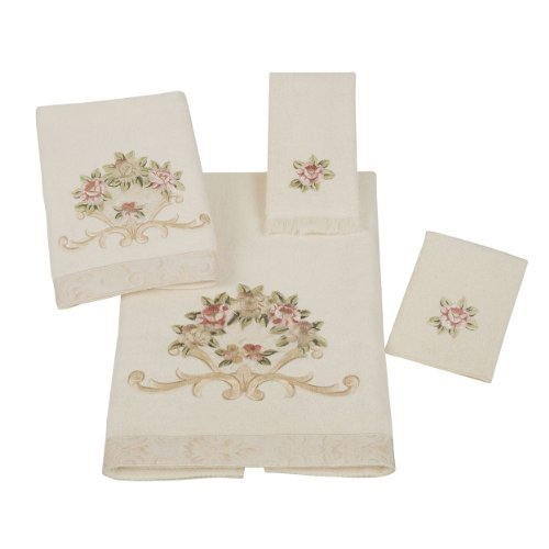 Avanti Rosefan 4-Piece Towel Set, Ivory (Floral Bath Towels)