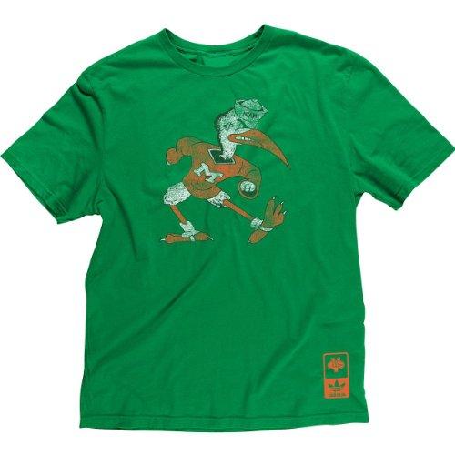 Mascot Large T-shirt Adidas (Miami Hurricanes Adidas Vintage Throwback Mascot Slim Fit T Shirt (Small))
