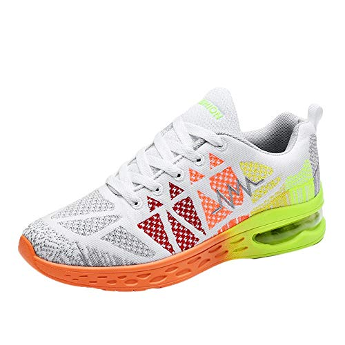 Respctful✿Mens Running Shoes Casual Walking Sneakers Workout Sport Running Shoes for Men Mesh Breathable White