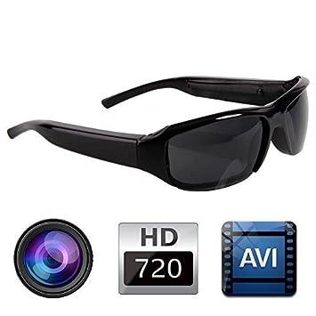 Lushuai @ HD 720P Gafas negras a la moda, gafas espía con mini cámara estenopeica, Mini DV DVR Grabador de audio digital oculto: Amazon.es: Bricolaje y ...