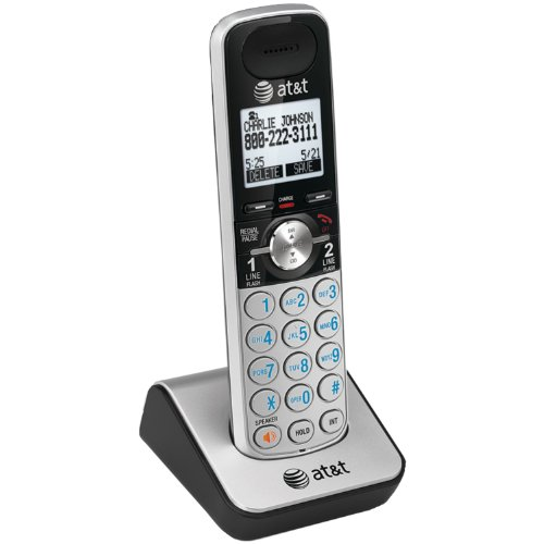 AT&T TL88002 Accessory Cordless Handset, Silver/Black | Requires an AT&T TL88102 Expandable Phone System to - Cordless Accessory Handset Digital