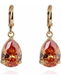 Charming Smooth 18k Gold Plated Inlay Teardrop Cubic Zirconia Simple Design Dangle Drop Earrings