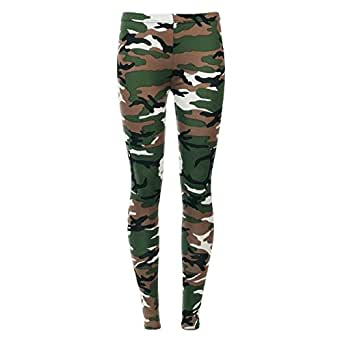 Islander Fashions Womens Printed Skinny Laggings Pants Ladies Stretchy Full Length Trouser Legging Army 2X Large AU 20-22