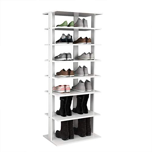 Tangkula Wooden Shoes Racks, Entryway Shoes Storage Stand, Modern 7 Tiers Shoe Rack Organizer, Multi-Function Shoe Rack Shoe Box, Storage Shelf (White, Double) (Discount Kitchen Cabinet Doors And Drawer Fronts)