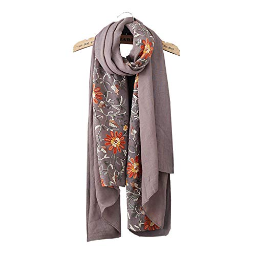 Womens printing Embroidery Flower Long Soft Infinity Scarves Lightweight Wrap Shawl Cotton linen Scarf