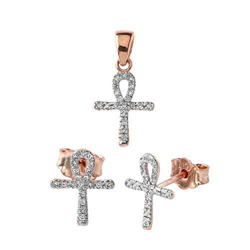 Pendant Accented Diamond Key (Exquisite 10k Rose Gold Mini Diamond Ankh Cross Pendant and Earrings Set)