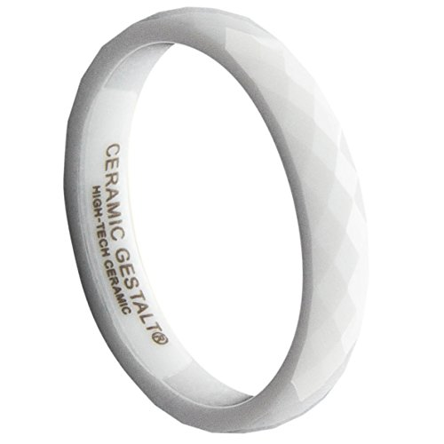 (GESTALT COUTURE White Ceramic Ring 4mm Width. Faceted Design.)