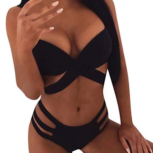 Women Thong Bikini Set Solid Halter Push Up Swimsuit Bras Cross Wrap Swimwear Two Piece Bathing Suits Brazilian Beachwear (Black, M)