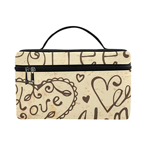 Hand Drawn Elements Design Menu Vintage Lunch Box Tote Bag Lunch Holder Insulated Lunch Cooler Bag For Women/men/picnic/boating/beach/fishing/school/work