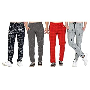 SHAUN Men's Regular Fit Trackpants (Pack of 4) (B07P6PCYPV_Multicolored_Large)