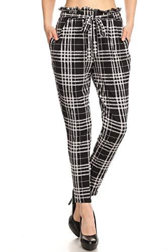 ShoSho Womens Solid Color Loose Fit Semi Harem Pants Casual Bottoms Skinny Self Tie Paper Bag Waist Plaid Black/Grey Medium ()