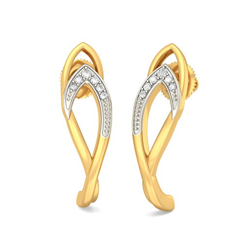 Or jaune 14 K 0,07 ct tw White-diamond (IJ | SI) Boucles d'oreilles créoles