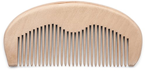 Wooden Beard Comb for Men - Natural Anti-Static Peach Wood - Solid, High Quality, Pocket Size - Use with Oils Wax & Balms - Beards and Moustache - Best Tangle Free Grooming of Facial Hair (Best Moustache Wax compare prices)