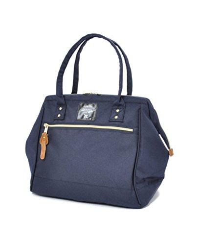 - Anello Polyester Canvas Waterproof Boston Shoulder Bag Handbag (Navy)