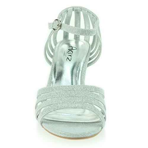 Mujer Señoras Strappy Brillante Resplandecer Tacón Medio Noche Fiesta Boda Prom Sandalias Zapatos Talla Plateado
