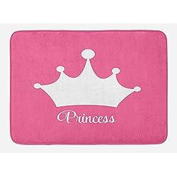 Lunarable Princess Bath Mat, White Crown on Pink Backdrop Tiara Graphic Princess Word Stylized Lettering Print, Plush Bathroom Decor Mat with Non Slip Backing, 29.5 W X 17.5 W Inches, Pink White