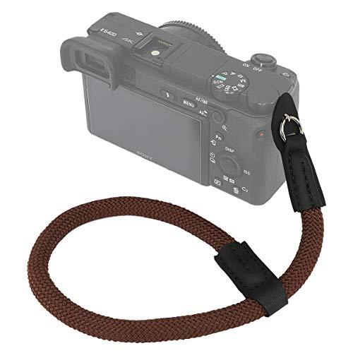 Haoge Camera Hand Wrist Strap for Fujifilm Fuji X-H1 XH1 X30 X70 X100 X100V X100F X100T X100S GFX 50R GFX100, for Canon EOS M5 M6, for Nikon 1 J3 J4 J5 V1 V2 V3 S1 S2 Climbing Rope Coffee