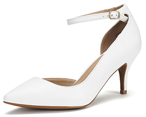 DREAM PAIRS IDEAL Women's Evening Dress Low Heel Ankle Strap D'orsay Pointed Toe Wedding Pumps Shoes White PU Size 10