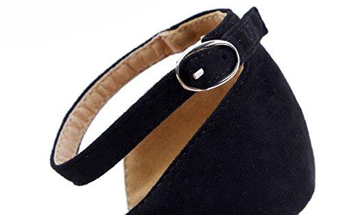 hebillas Shoes Medio Sólido Salón Puntera con Tacón Punta Negro de EN Mujer AgeeMi pwqOPw