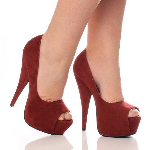 Damen Party Peep Plateauschuhe Größe Grund Klassisch Pumps Sandalen Toe Elegant Wildleder Burgunderrot Absatz Hoher r6Cqr