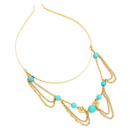 Turquoise Station Draped Metal Chain HeadBand For Women / AZFJHB295-AGT