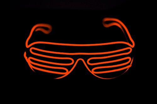 SummitLink Black Frame Orange Neon El Wire LED Light Up Shutter Glasses Standard Controller