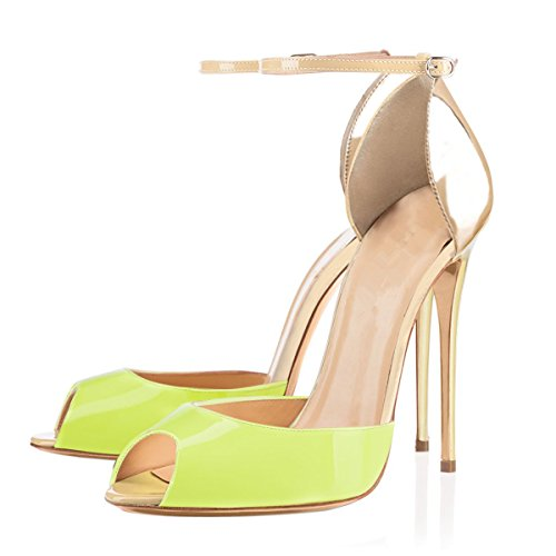 Slip Heels D'orsay Pumps Dress On StrapHigh Women Gold Toe Green Light Stiletto Ankle Pointed Size 10 with Sandals PvtwPqYd