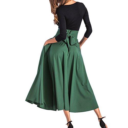 Swing les jupe longueur taille pleine avant Dark Green fente Pliss saisons ceinture haute BFUSTYLE Toutes Femmes Maxi YwEqS6