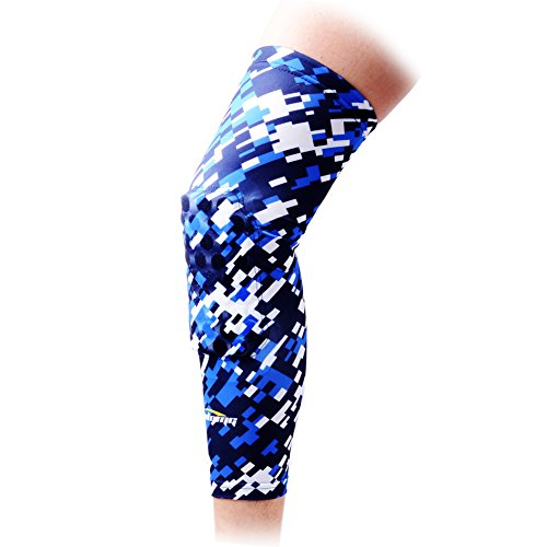 COOLOMG 1 Piece Basketball Knee Pads For Kids Youth Adult Long Leg Knee Sleeves EVA Protector Gear Digital Camo Blue Navy Small