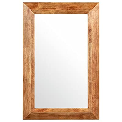 Stone & Beam Rustic Wood Frame Hanging Wall Mirror, 39.75 Inch Height, Natural - This mirror's frame has the appearance of weathered, unstained wood, giving it a rustic touch. Its versatile size makes it easy to place in a traditional-style bedroom, hallway or living room. Natural wood color frame for classic style with a hint of rustic. Glass, solid rubber wood with distressed finish - bathroom-mirrors, bathroom-accessories, bathroom - 41FLsGiuLwL. SS400  -
