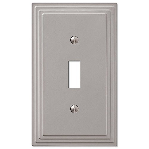 Jackson Square Light (Step Design Toggle Wall Switch Plate Cover - Satin Nickel)