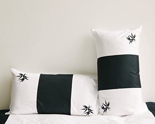 Embroidered Zen Bamboo Standard Pillow Cases/Covers, Black/White, Set of 2 (20