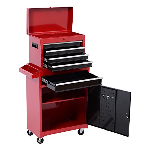 HomCom Chest 5 and Removable Tool - Red