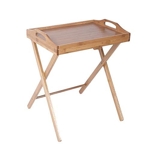 Cypressshop Folding Dining Table Tray Desk Bamboo Wood Stand End Desk Serve Snack Coffee Tea Table Wooden Side Couch Desk Home Furniture
