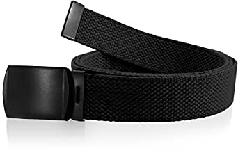 """Nice Shades Black One Size Canvas Military Web Belt With Black Slider Buckle. Many Colors Available 56"""". Black"""