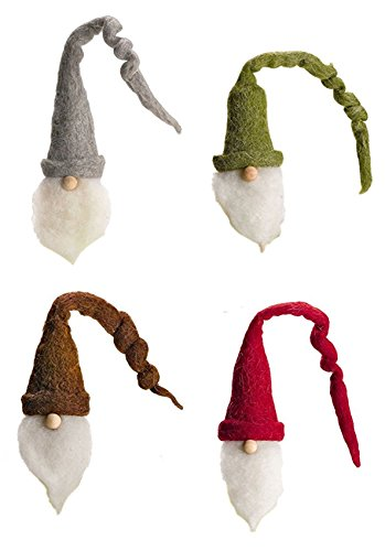 Set/4 Santa Wine Bottle Cover Toppers with Twirly Hats
