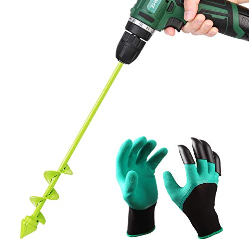 UGarden Bulb & Bedding Plant Auger, with Backyard Genie Gloves, Backyard Plant Flower Bulb Auger 2″ x 16″ Speedy Planter, Non-Slip Hex Drive suits Any 3/8-inch Drill. (Three Circles)