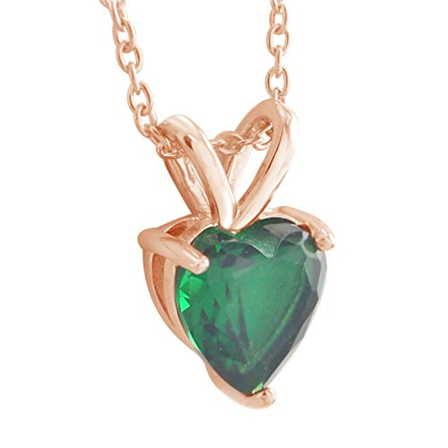 Trillion Jewels 1ct Created Emerald Heart Cut Solitaire Pendant Necklace 14K Rose Gold Fn