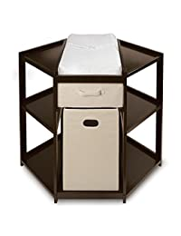 Espresso, Corner Changing Table With Changing Pad, Hamper and Basket BOBEBE Online Baby Store From New York to Miami and Los Angeles
