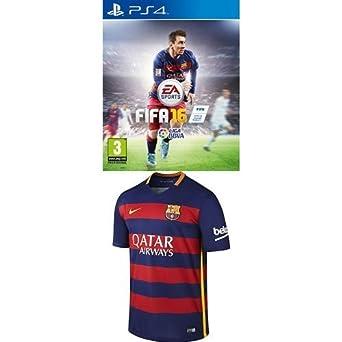 FIFA 16 + 1º Equipación FC Barcelona 2015/2016 - Camiseta oficial Nike, talla