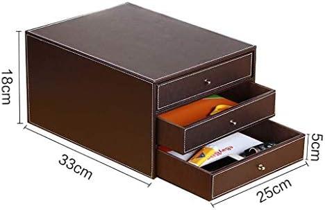 Archivadores de gabinetes de escritorio caja de almacenamiento estante de cuero tipo cajón de 250 x 330 x 245 mm muebles de oficina, a1, Three-layer drawer: Amazon.es: Hogar