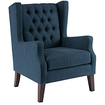 Superior Comtemporary Deep Button Tufted Wingback Navy Blue Upholstered Accent  Armchair With Dark Wood Legs   Includes ModHaus Living Pen