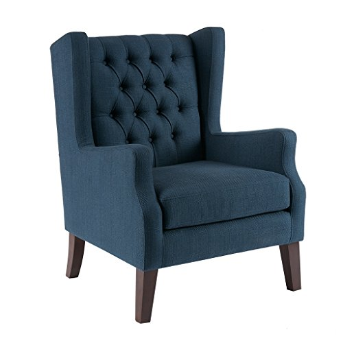 Madison Park MP100-0017 Maxwell Accent Chairs-Hardwood, Faux Linen Deep Seat Bedroom Lounge Modern Classic Elegant Button Tufted High Back Style Living Room Sofa Furniture, Navy