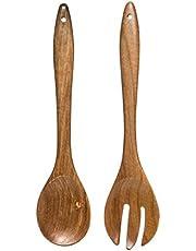 """Aleyah 2 Piece Salad Utensils, Acacia Wood, 12"""" Long"""