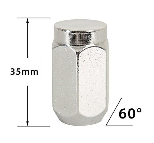 20/tuercas rueda cromo 1//2/UNF RH Nuts tuercas con 60//° Cono/ /Ancho de llave 19/mm.