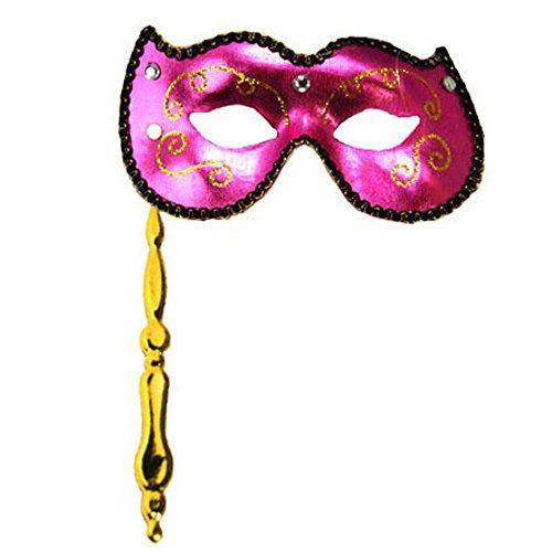 KBW Global Corp Pink Masquerade Stick Mask (Pink Stick Mask)