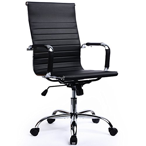41FLuvbc3fL - GTracing Modern Ribbed Office Chair Leather Office Chair High back Ergonomic Chair Swivel Conference Chair