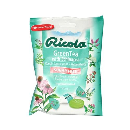 2 Packs of Ricola Sugar Free Green Tea Cough Drops With Echinacea - 19 Drops - Case Of 12