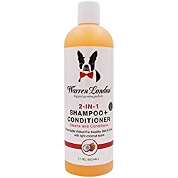 Warren London - 2-in-1 Dog Shampoo + Conditioner - 17oz - Coconut Scented - Cleans, Conditions and Moisturizes w/ Vitamin E & Shea Butter' No Soap, Detergents, or Parabens